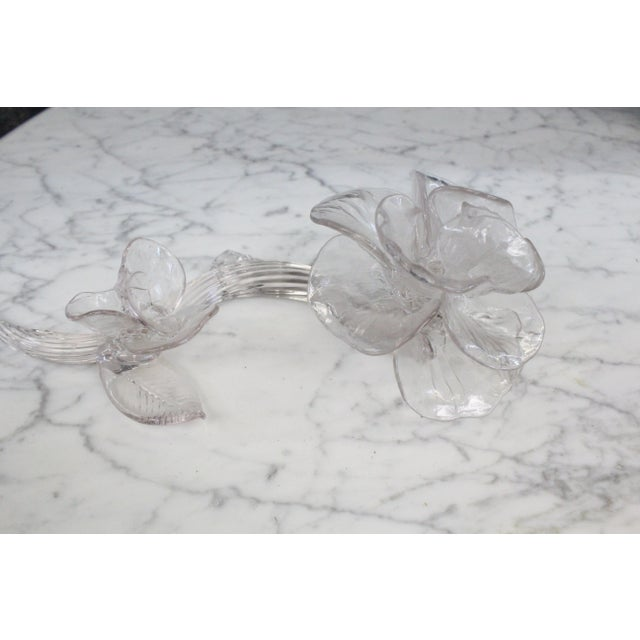 Delicate hand made glass rose with serpentine design and flourishing petals.