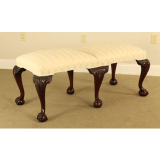 Chippendale Style Quality Carved Mahogany Ball & Claw 6 Leg Bench Preview