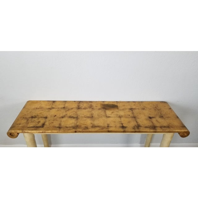 Wood Italian Hollywood Regency Gold- Leaf Console Table For Sale - Image 7 of 13
