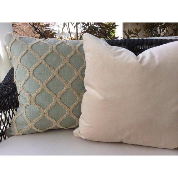 Spa Blue & Cream Linen, Chenille, & Velvet Pillows - a Pair - Image 4 of 4