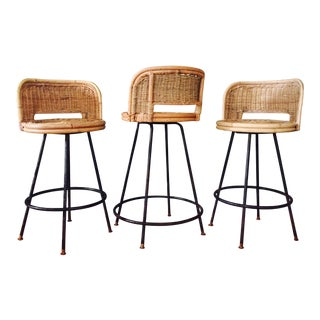 Mid-Century Rattan & Wrought Iron Counter Height Bar Stools - Set of 3