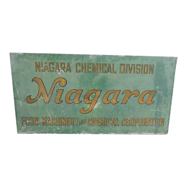 Vintage Hand Painted Tin Company Sign For Sale