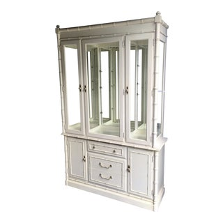 Chinoiserie Thomasville Faux Bamboo China Display Cabinet