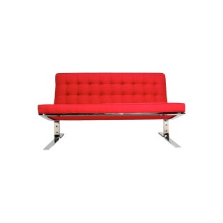 Mid-Century Modern Red Settee For Sale