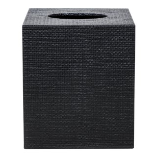 Black Linen Covered Tissue Box Cover For Sale