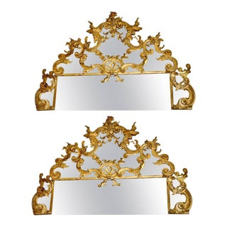 18th Century Italian Carved Gilt Wood Over Door Mirrors - A Pair For Sale