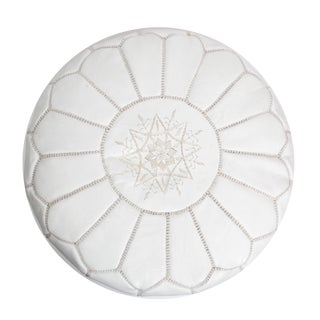 Boho Atlas White Leather Pouf