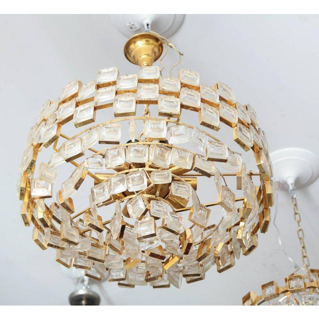 Vintage Palwa Square Glass and Brass Chandelier For Sale - Image 9 of 10