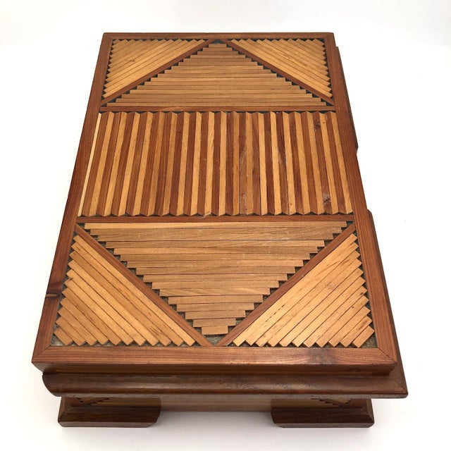 Mid-Century Tramp Art Jewelry Box For Sale - Image 4 of 13
