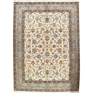 Pasargad Signed Persian Kashan Handmade Hand-Knotted Rug - 9′4″ × 12′6″ For Sale