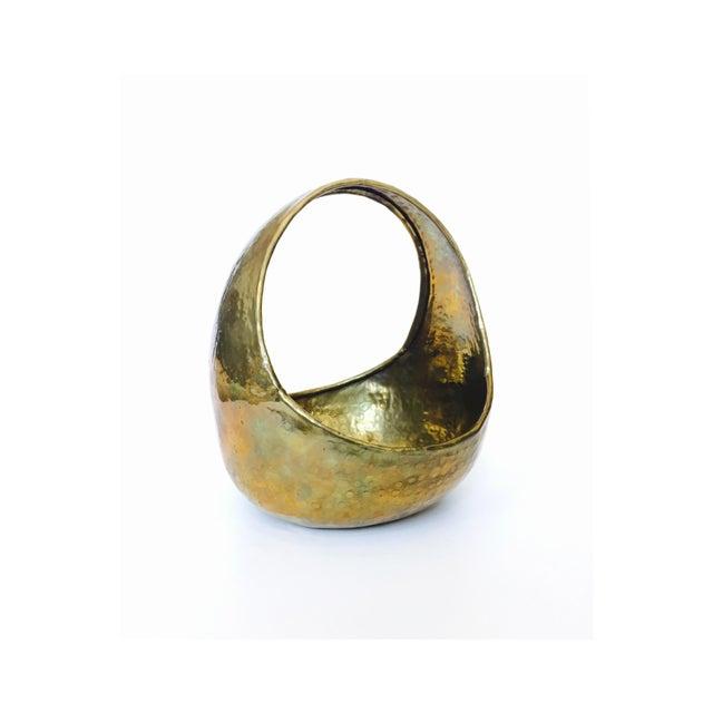 Vintage Hammered Brass Basket - Image 2 of 6
