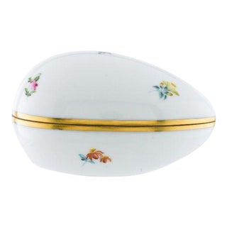 Herend Large Hand Painted Porcelain Egg Box For Sale
