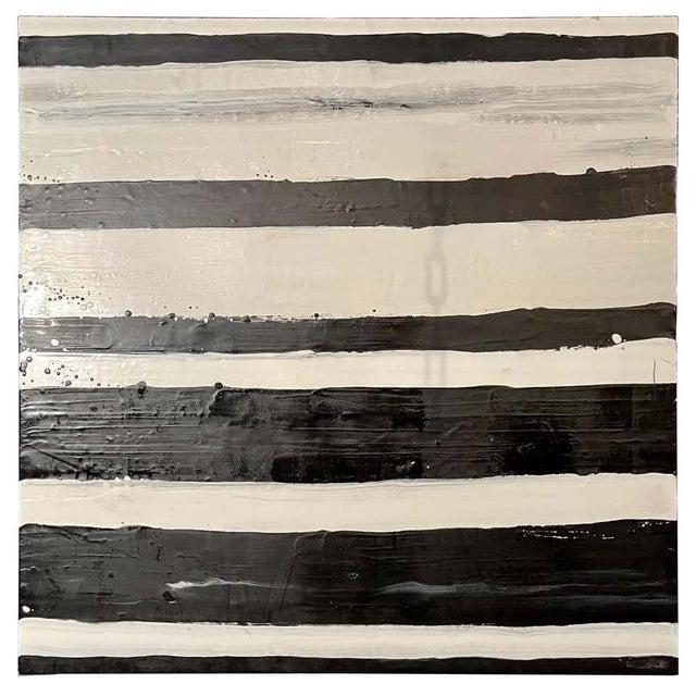 """Lynn Basa Encaustic Black and White Stripe Panel """"Doppleganger"""" 2013 For Sale - Image 12 of 12"""