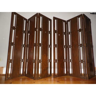 Vintage Mid Century Modern Solid Walnut 6 Panel Folding Screen Room Divider Preview