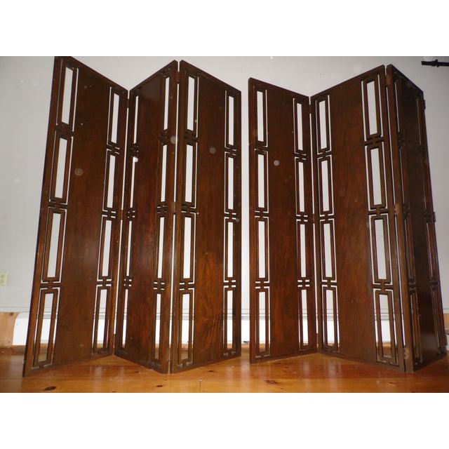 Retro Accent 3 Panel Room Divider Mid Century Privacy Screen Folding Wood Walnut