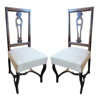 Pair of 19th Century, French Walnut Side Chairs