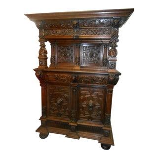 Antique Tiger Oak Grand Judges Chambers Liquor Cabinet