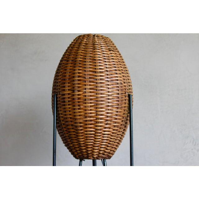 Adirondack Paul Mayen Mid-Century Rattan & Iron Hairpin Floor Lamp For Sale - Image 3 of 13