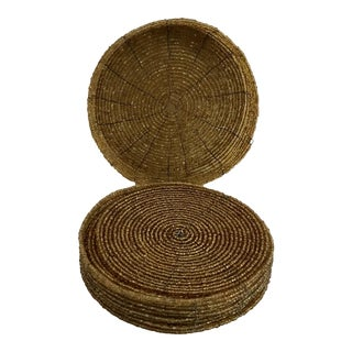 Vintage Gold Beaded Coasters - Set of 6