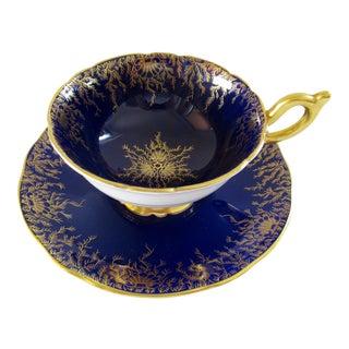Vintage Coalport Blue and Gold Porcelain Teacup and Saucer