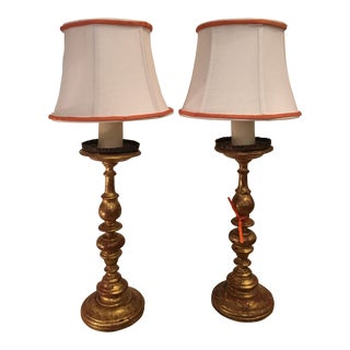 Pair of Antique Italian Giltwood Candlestick Lamps For Sale