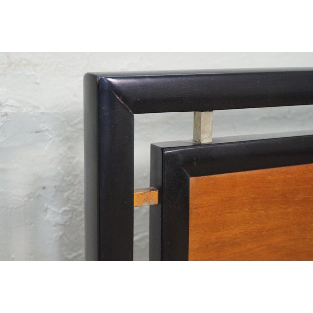 Tung Si Collection Ebonized Black & Teak Full Bed - Image 5 of 10