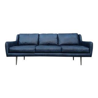 Mid-Century Blue Leather Sofa