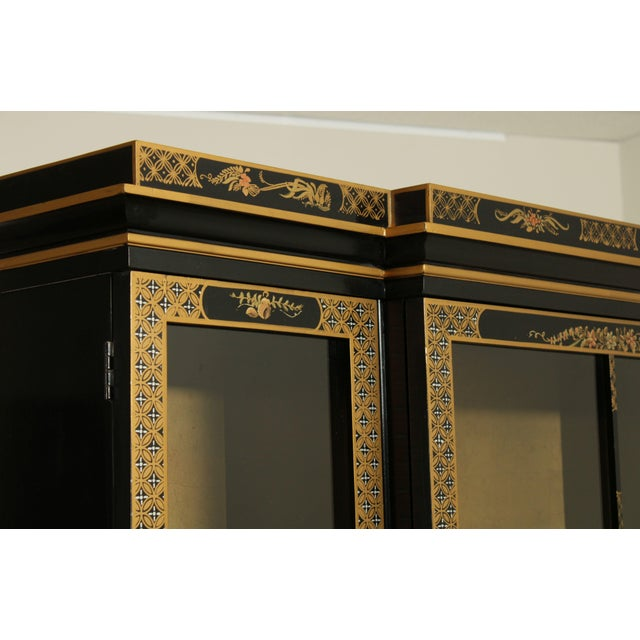 Drexel Heritage Et Cetera Black & Gold Asian Chinoiserie Breakfront For Sale - Image 10 of 13
