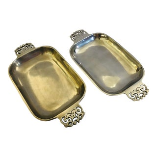Contemporary Nambe Serving Trays With Decorative Scroll Handles - a Pair For Sale