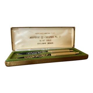 Vintage Arpege 14 Karat Gold Chanel No 5 Perfumed Pen Set For Sale
