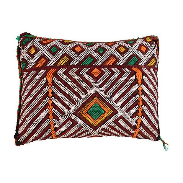 Handwoven Moroccan Berber pillow sham with an elaborate diamond pattern and a lively assortment of vibrant colors. Zipper...