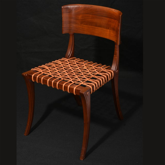 1990s Klismos Chair by T H Robsjohn Gibbings Widdicomb With Original Leather Seat For Sale - Image 5 of 6