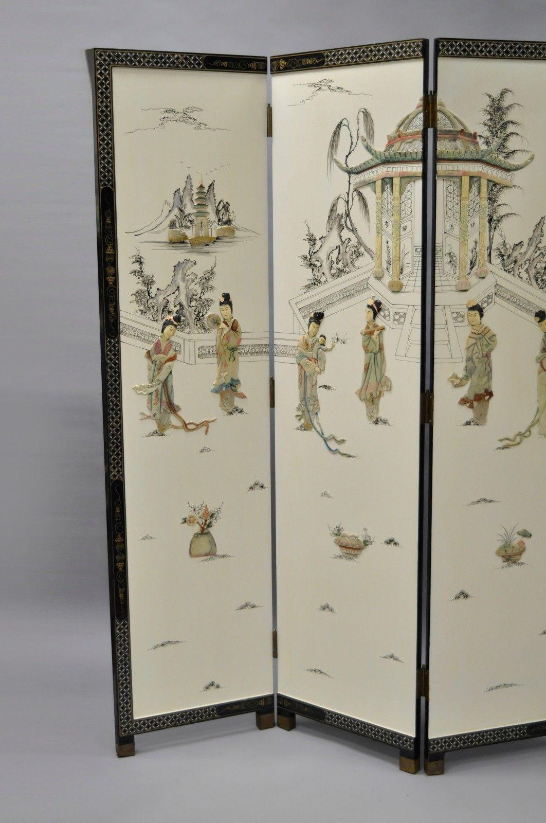 Oriental Carved Soapstone Geisha Girl Dressing Screen Room Divider 4