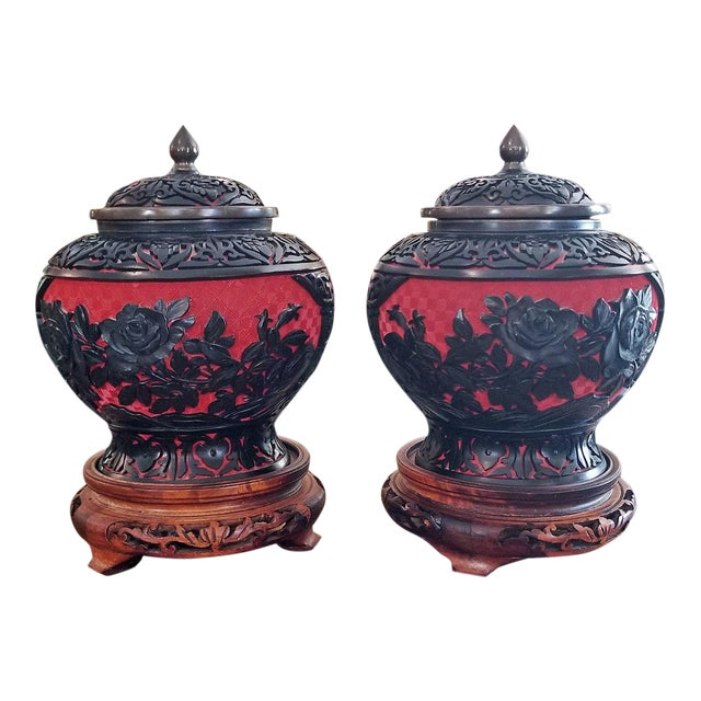 20th Century Chinese Cinnabar and Enamel Lidded Urns on Stand - a Pair For Sale