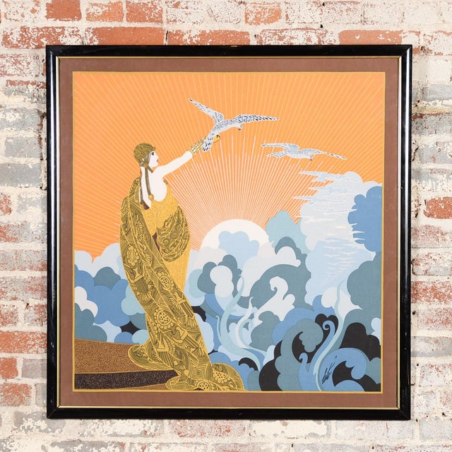 """Erte's """"Wings of Victory"""" is a beautiful vintage Art Deco serigraph scarf professionally framed under glass A unique and..."""