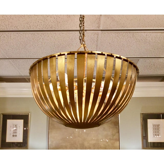 Stylish modern, contemporary, Arteriors Brass Camden Chandelier, iron frame, brass finish, showroom floor sample, original...