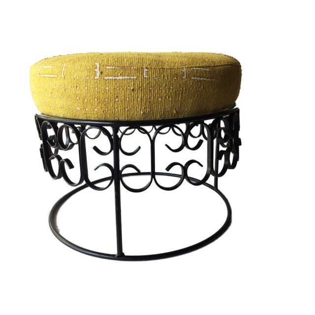 Superb wrought Iron base ottoman newly upholstered with cotton Mustard and white fabric Mud Cloth geometric design,...