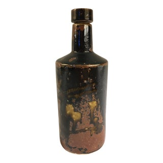 1900s Boho Chic Cylindrical Ceramic Vessel With Cork