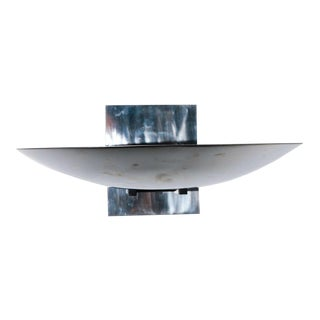 1980s French Chrome Dish Sconce For Sale