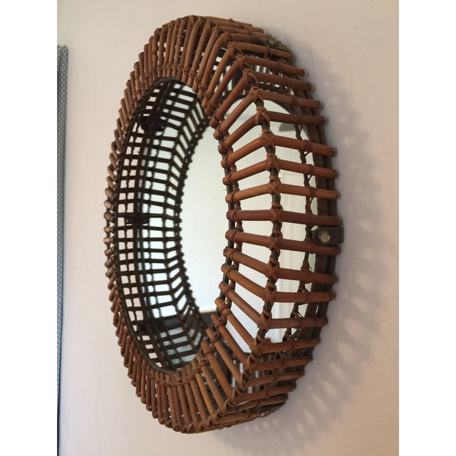 Vintage Umbra Rattan Wall Mirror by Matt Carr; Albini Style - Image 4 of 9