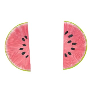 Watermelon Slice Pink and Green Lucite Pierced Earrings For Sale