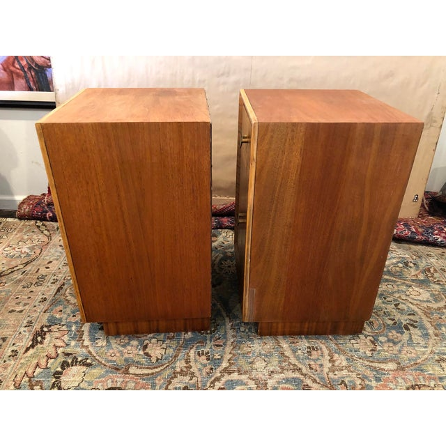 Mid Century Art Deco Night Stands W Movingui Wood Vaneer - a Pair For Sale - Image 12 of 13