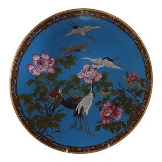 Vintage Cloisonne Enamel Cranes and Chrysanthemums Plate