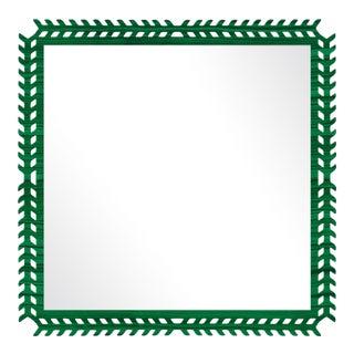 Fleur Home x Chairish Toulouse Trellis Mirror in Malachite, 24x24 For Sale