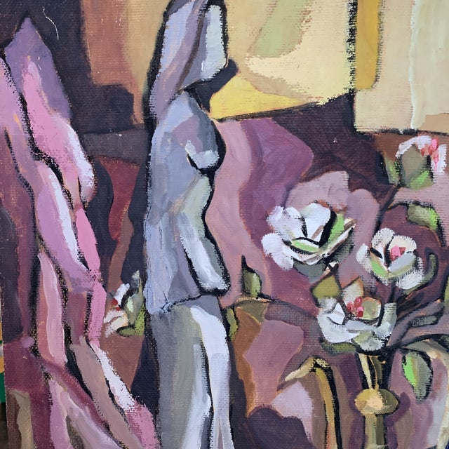 Unframed Figurine With Vase Still Life Painting on Board For Sale - Image 4 of 6