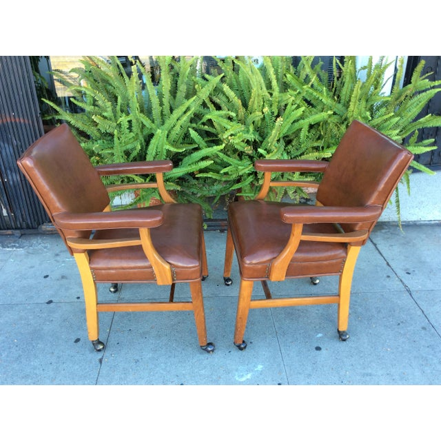 Traditional Vintage Faux Leather Side Chairs - a Pair For Sale - Image 3 of 11