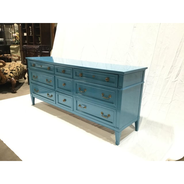 Blue 1960s French Heritage Furniture Lacquered Nine Drawer Dresser For Sale - Image 8 of 13