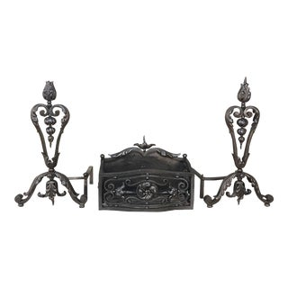 19th Century Wrought Iron Andiron & Firebox Set For Sale