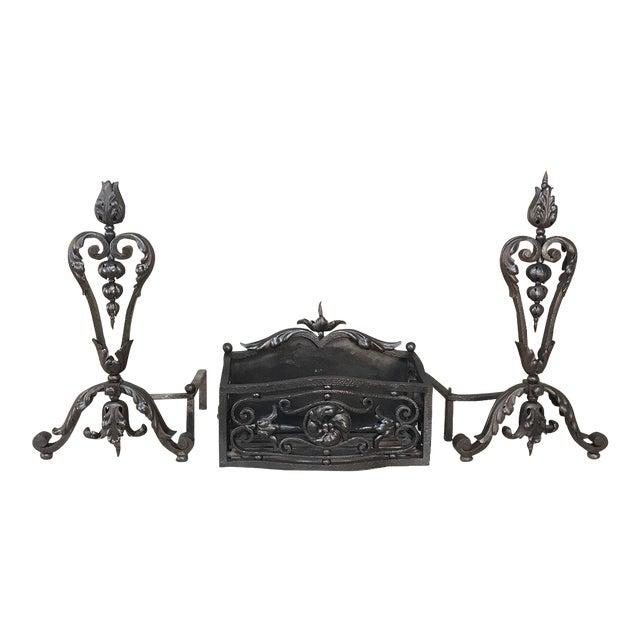 19th Century Wrought Iron Andiron & Firebox Set For Sale