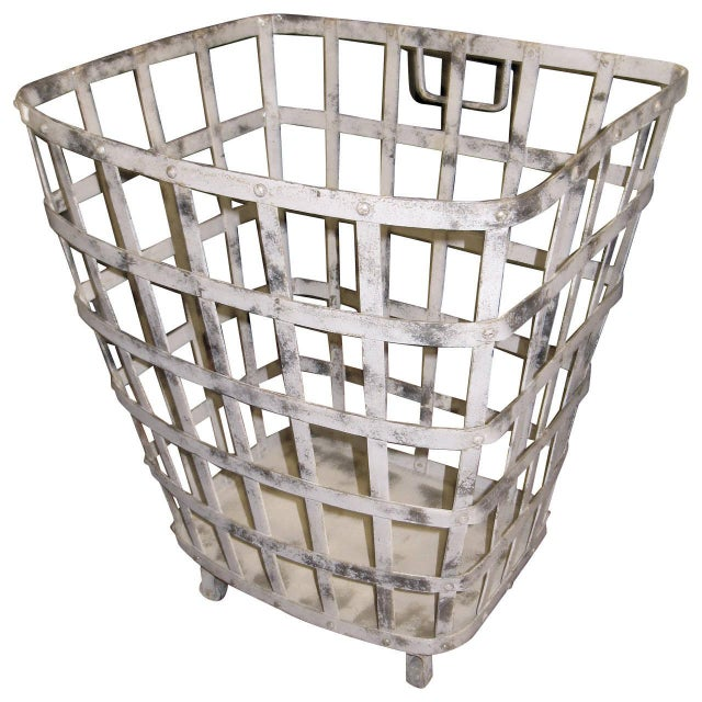 Industrial Iron Basket With Worn Painted Finish For Sale - Image 4 of 4